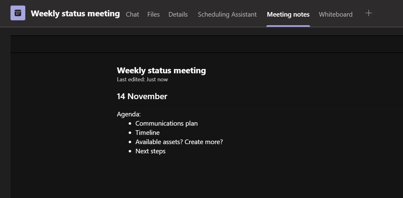 Meeting Notes in Microsoft Teams